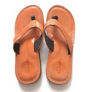 Clarks Roxanna Leather Flip Flop Sandals Sz 9 EUC